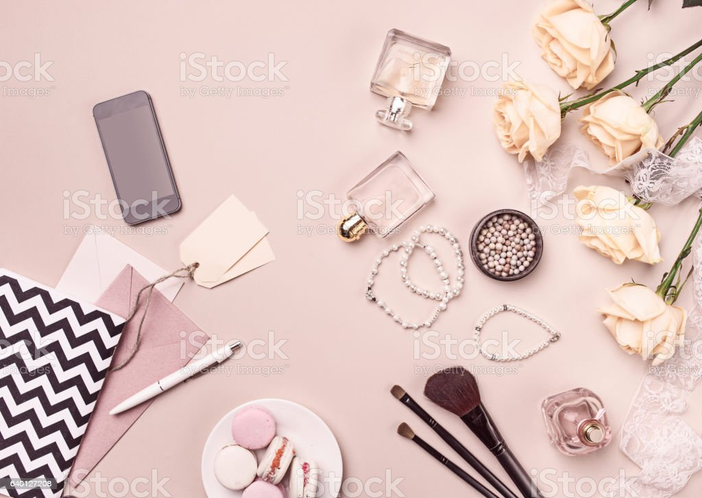 Vintage still Life with roses and Ballet Shoes stock photo