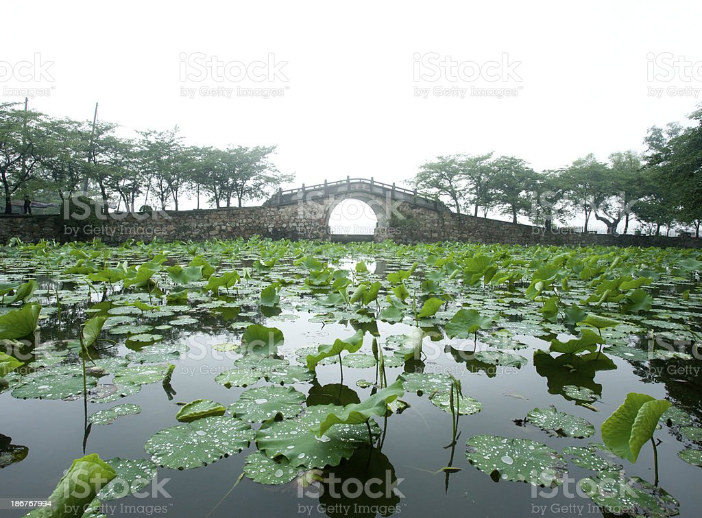 vintage stone bridge in China town royalty-free stock photo