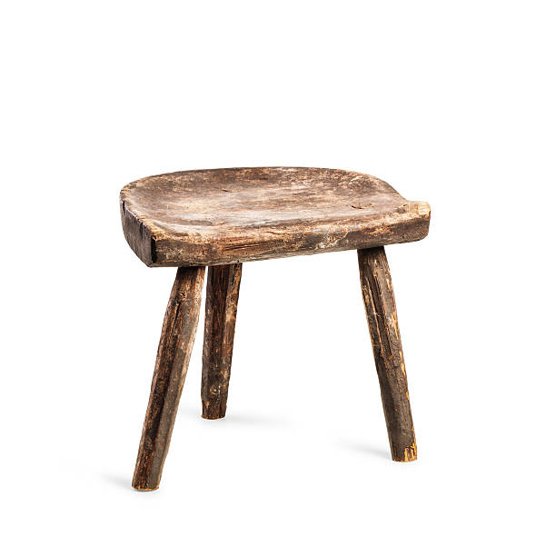 Vintage stool Vintage stool isolated on white background. Antique three legs chair. Single object with clipping path stool stock pictures, royalty-free photos & images