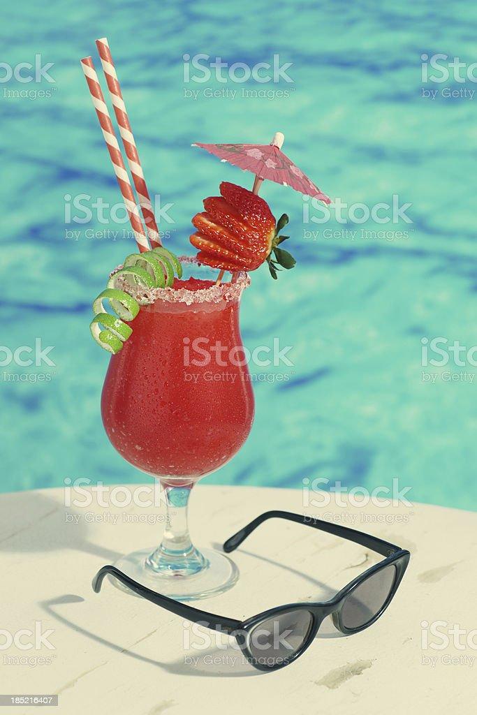 Vintage Strawberry Daiquiri royalty-free stock photo
