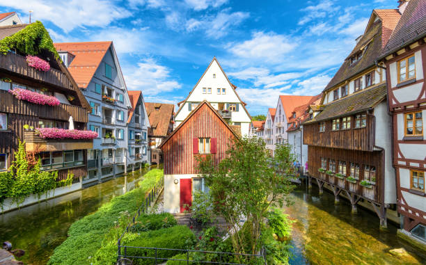 Vintage street in old town of Ulm, Germany. Scenic view of historical Fisherman`s Quarter in summer. Vintage street in old town of Ulm, Germany. Scenic view of historical Fisherman`s Quarter in summer. It is a landmark of Ulm. Panorama of ancient district of Ulm city with beautiful houses and canals. ulm stock pictures, royalty-free photos & images