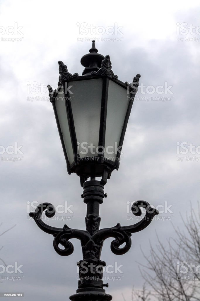 Vintage street lamp. Closely. royalty-free stock photo