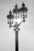 Black and white photography of an old street lamp on the Place de la Concorde, Paris, France, with the sun behind doing a lens flare.