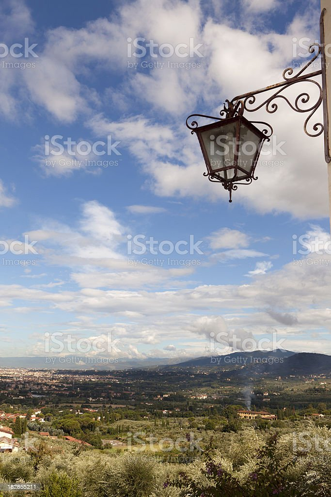 Vintage Street lamp overlooking Florence stock photo
