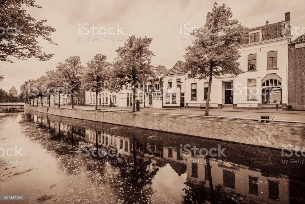 Vintage street view in the old Hanseatic League city Kampen stock photo
