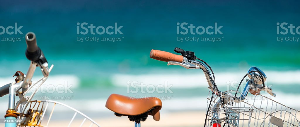 Vintage style bicycles stock photo