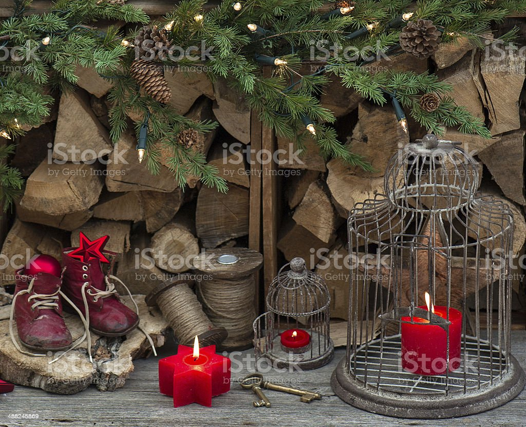 Vintage Style Christmas Decoration With Red Burning Candles Stock
