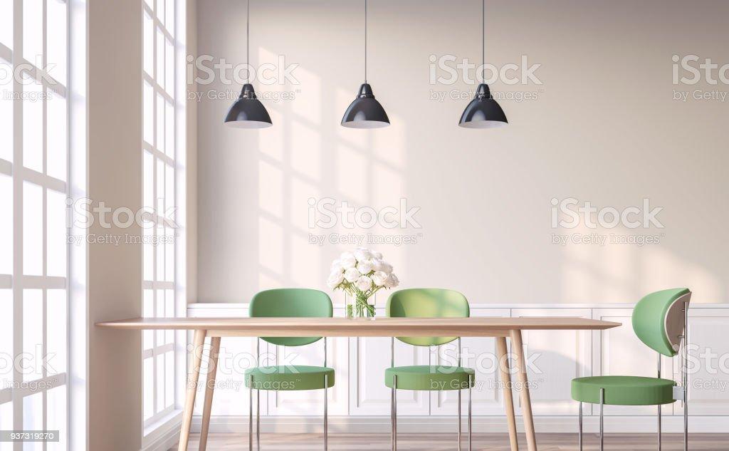 Comedor De Estilo Vintage Con Render 3d Silla Verde Foto de stock y ...