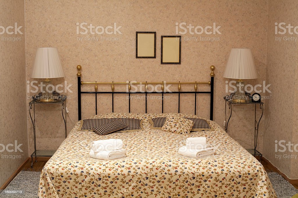 Vintage style hotel room with vintage furniture stock photo