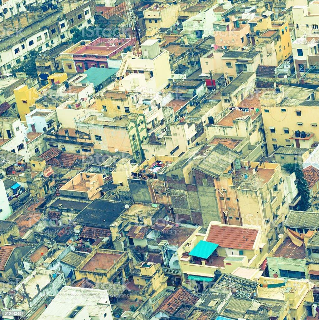 image de style Vintage coloré de maisons de ville bondées indien - Photo