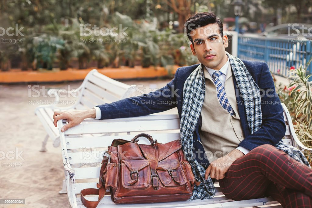 Vintage style Indian hipster stock photo