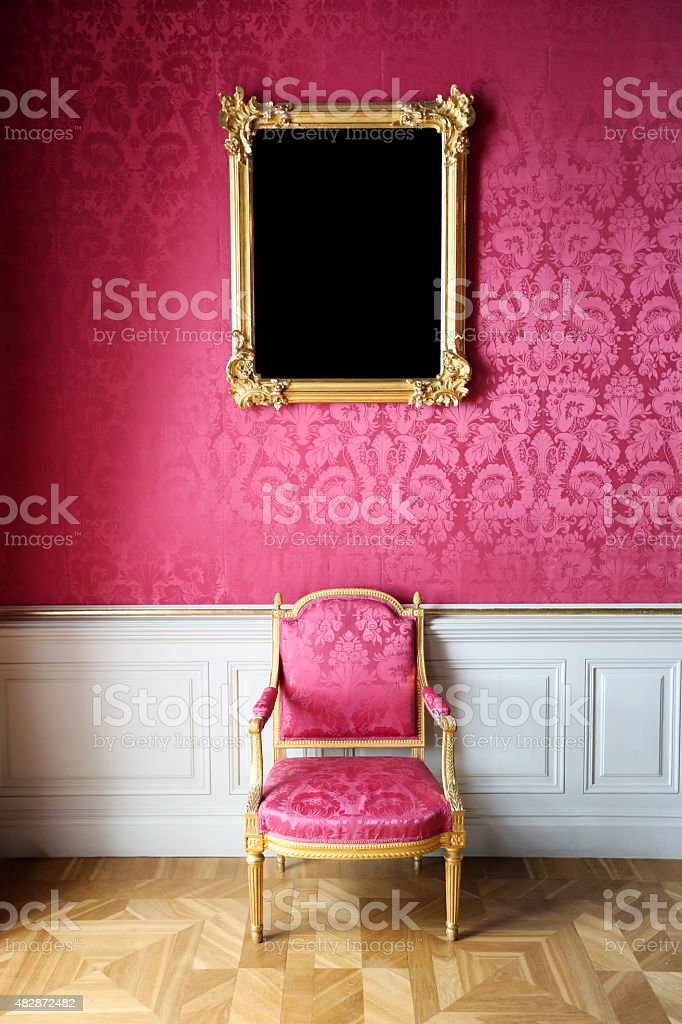 Vintage Style Interior With Chair And Blank Picture Frame stock ...