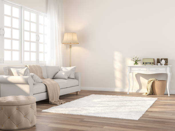Vintage style living room 3d render stock photo