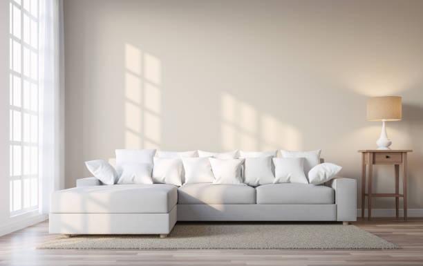 vintage-stil wohnzimmer mit beige farbe wand 3d render - innenmauern stock-fotos und bilder