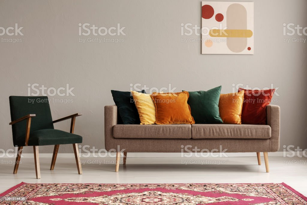 Vintage Style Living Room With Dark Green Retro Armchair And ...