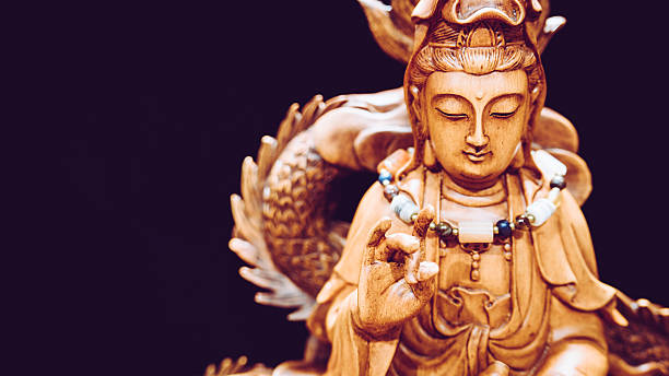 vintage style of buddha statue with light dark background. - 仏陀 ストックフォトと画像