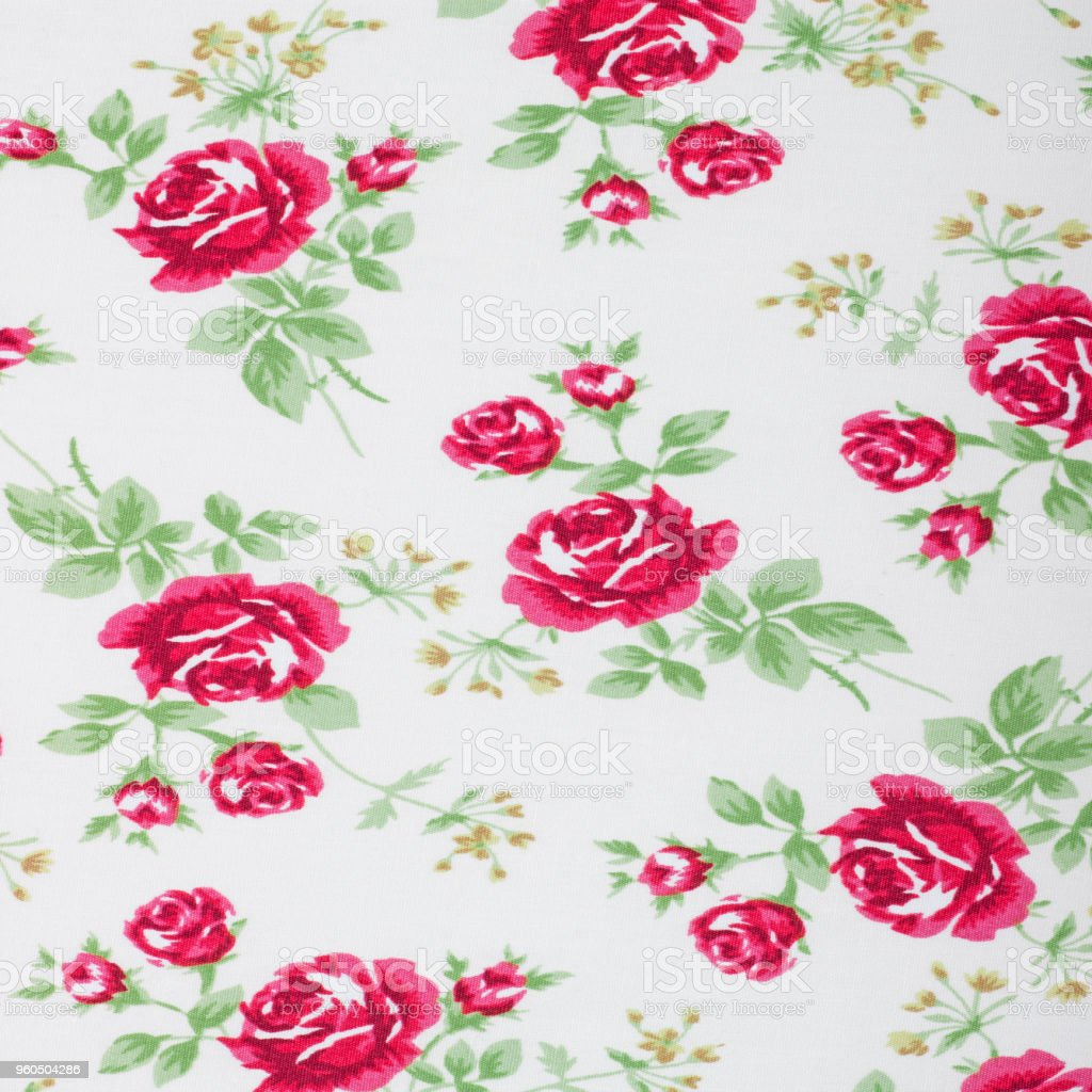 vintage style of tapestry flowers fabric pattern background stock photo