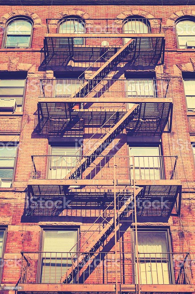 Vintage style photo of New York building, USA. stock photo
