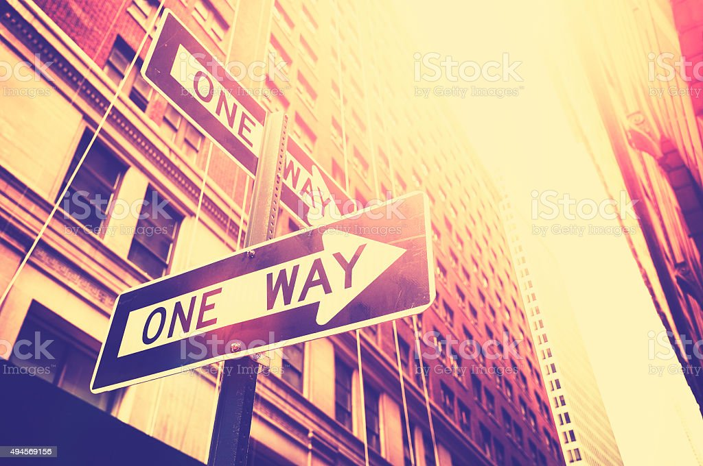 Vintage style photo of the one way signs in Manhattan. stock photo