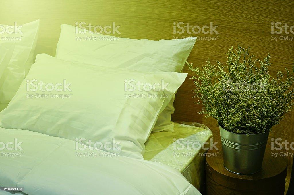 Vintage Style Pillow on bed. zbiór zdjęć royalty-free