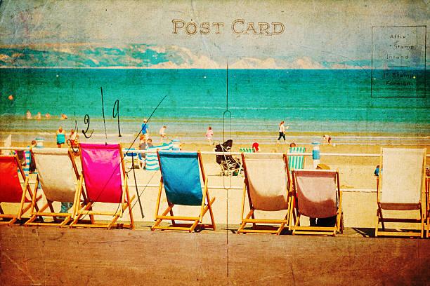 vintage style postcard with beach scene stock photo