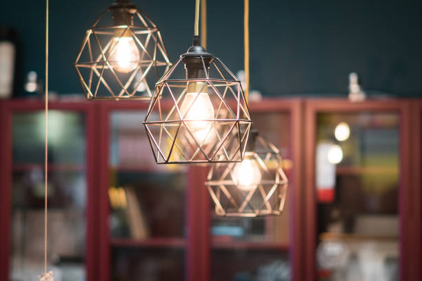 Vintage style rustic led light bulbs Vintage style rustic led light bulbs chandelier stock pictures, royalty-free photos & images