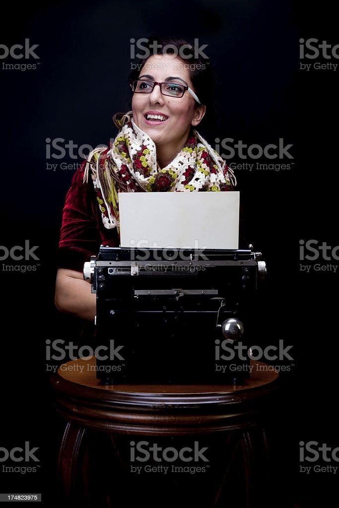 vintage style serene adult secretary royalty-free stock photo