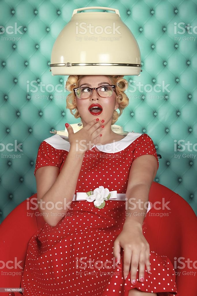 Vintage Style Woman Having Hair Done stock photo