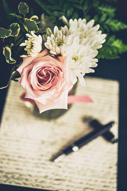 love letter rose single flower pen pictures images and stock photos
