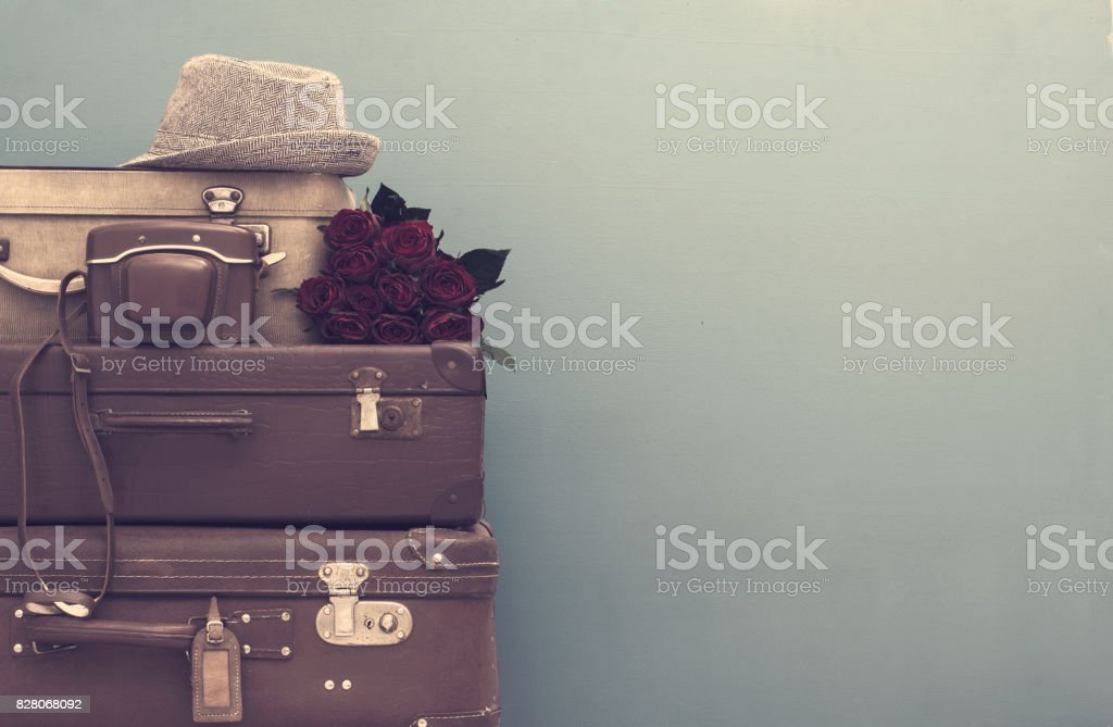 Vintage styled suitcases stock photo