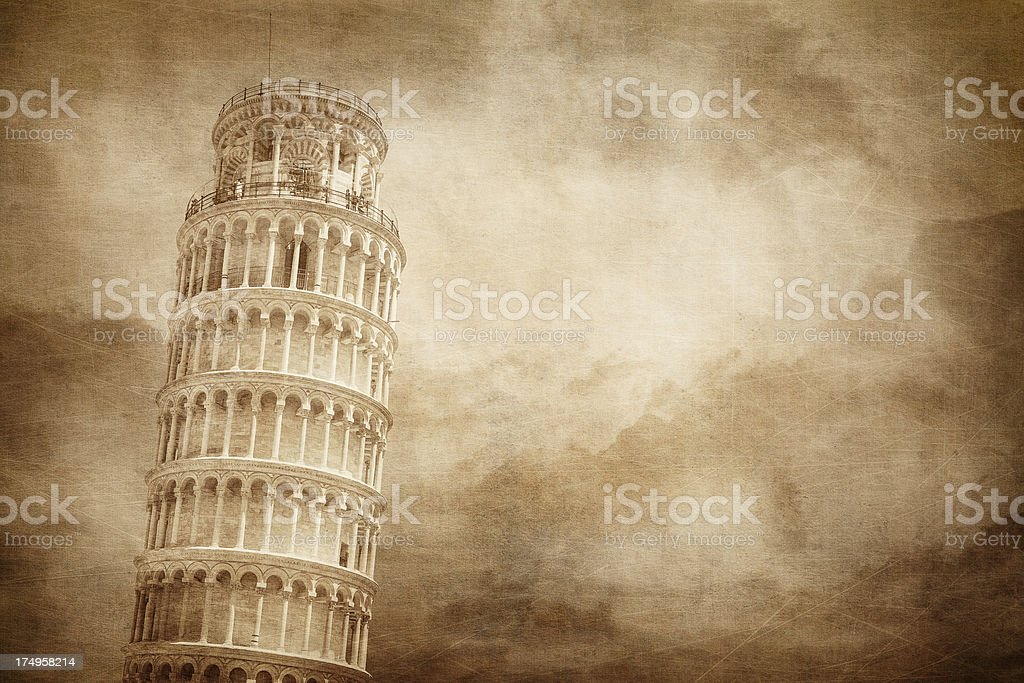 Vintage stylised picture of Pisa tower royalty-free stock photo