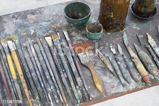577949148istockphoto Vintage stylized photo of paintbrushes closeup and artist palett 1173572796