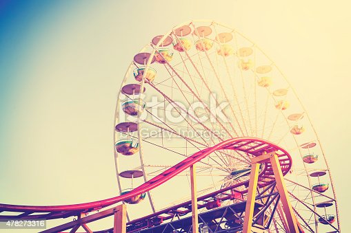 Retro vintage instagram stylized picture of an amusement park.