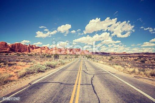 Vintage stylized scenic road, USA.