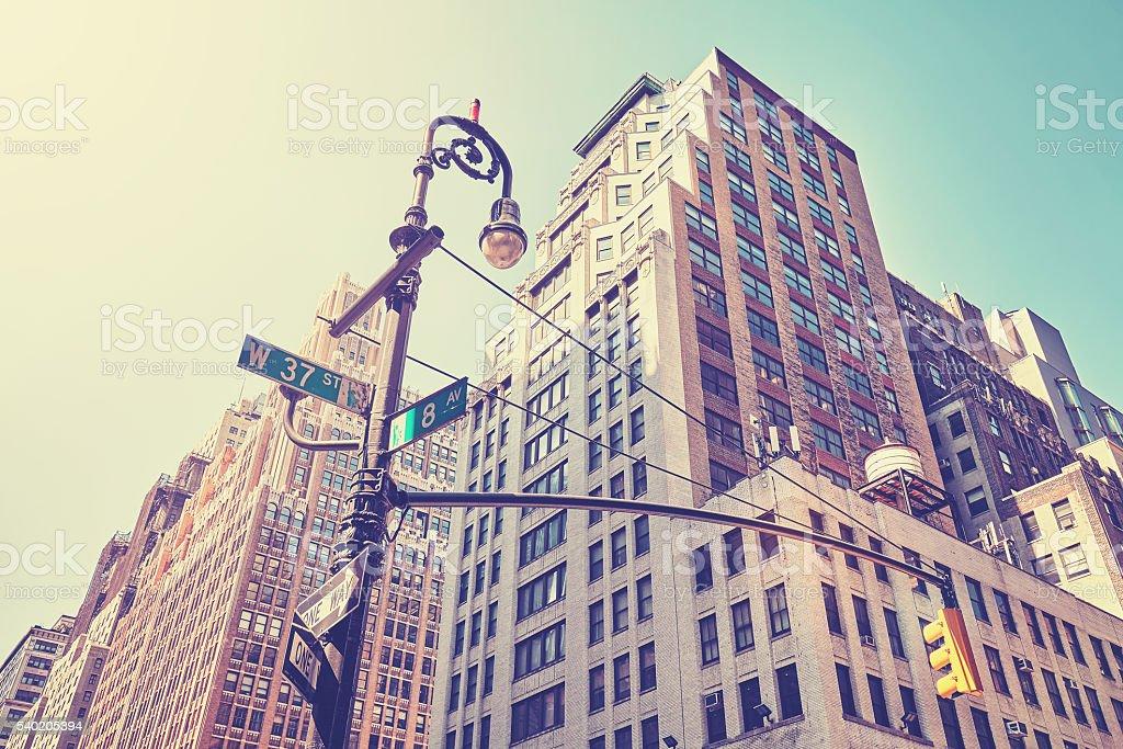 Vintage stylized street corner in Manhattan, New York. stock photo