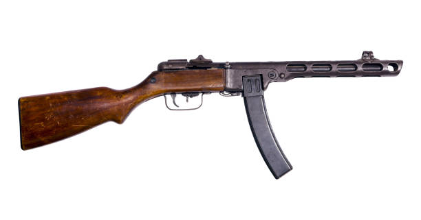 vintage submachine gun on white background vintage submachine gun with box magazine isolated viet cong stock pictures, royalty-free photos & images