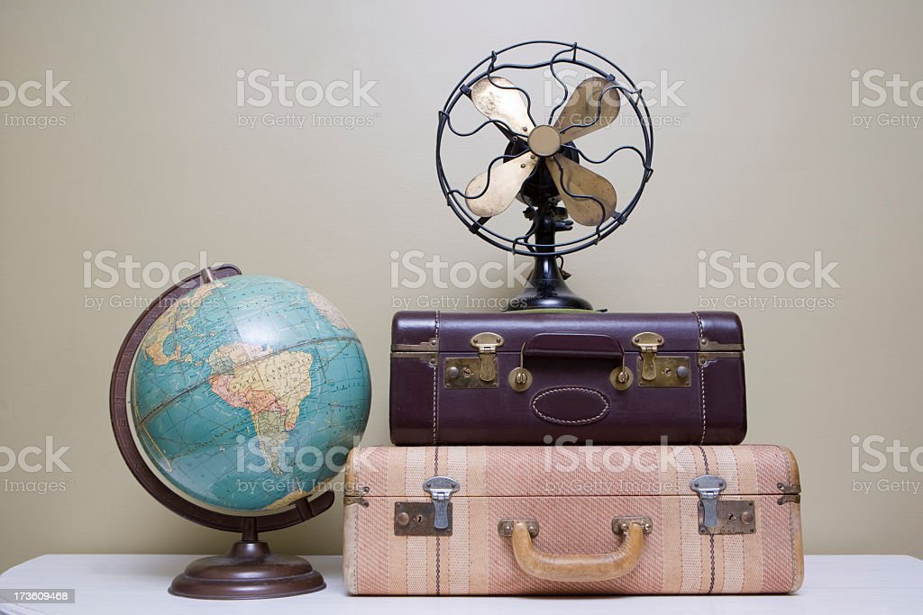 Vintage Suitcase, Fan and Globe stock photo