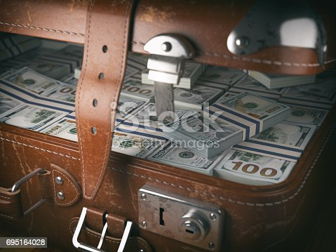 istock Vintage suitcase full of money. Business emigration concept background. 695164028