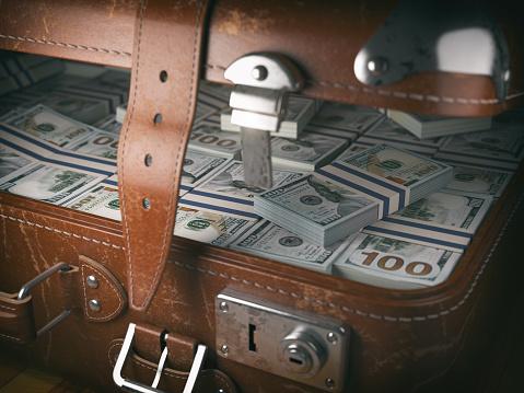 istock Vintage suitcase full of money. Business emigration concept background. 695164028