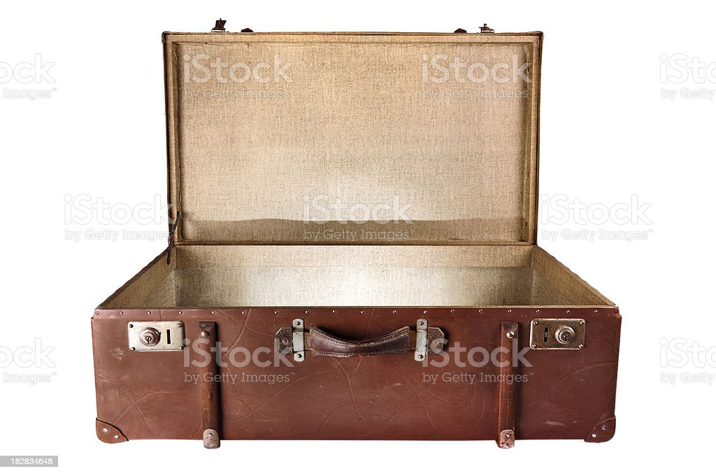 Vintage Suitcase isolated on white stock photo
