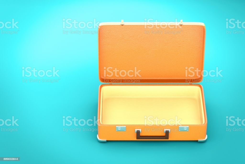 Vintage suitcase on blue background - 3d render royalty-free stock photo