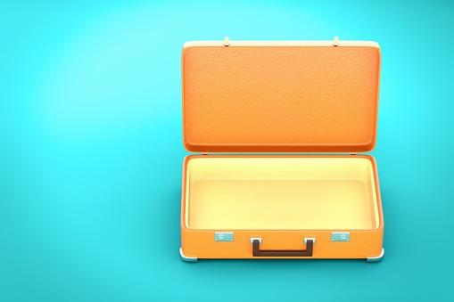 Vintage Suitcase On Blue Background 3d Render Stock Photo - Download Image Now