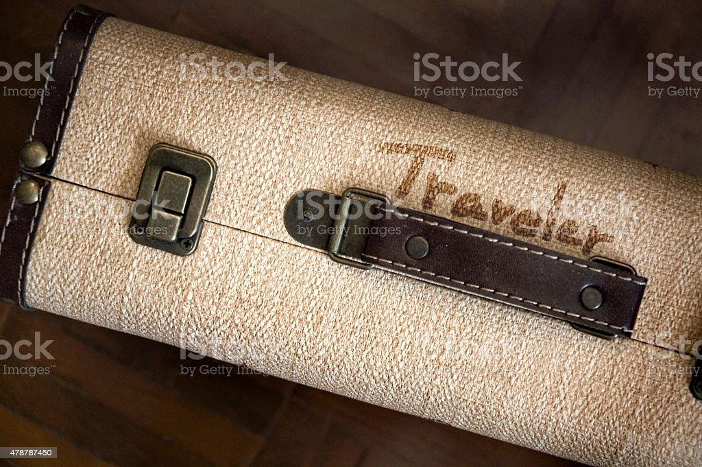 vintage mala com formulação traveler - foto de acervo