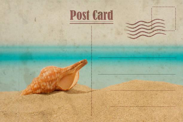 Vintage summer postcard. Seashell on the sand stock photo