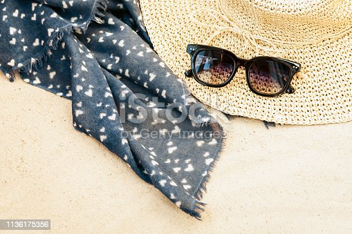 istock Vintage summer wicker straw beach bag, sun glasses and bag on the sand 1136175356