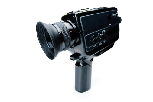 Vintage Super8 Movie Camera Isolated on White