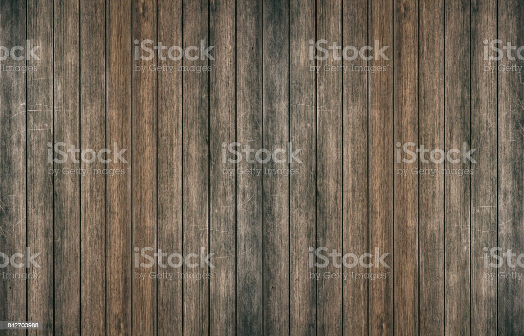 Vintage surface wood table and rustic grain texture background. Close up of dark rustic wall made of old wood table planks texture. Rustic brown wood table texture background template for your design. stock photo
