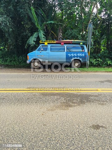 A colorful old van with surfboards on the rack sits in the shade along the main street of Hanalei, a famous surfing community on the north shore of Kauai. The words on the van door, he'e nalu, are Hawaiian for surfing, meaning