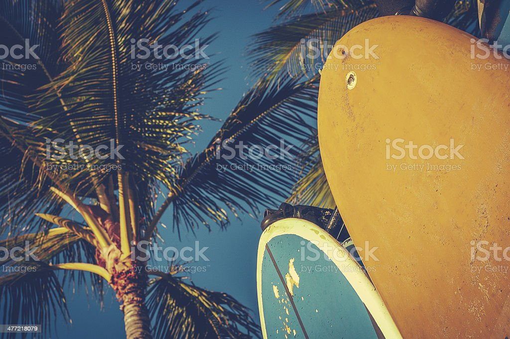 Vintage Surfboards And Palms stock photo