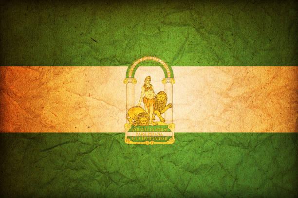 vintage símbolo de andalucía - andalusian flag fotografías e imágenes de stock